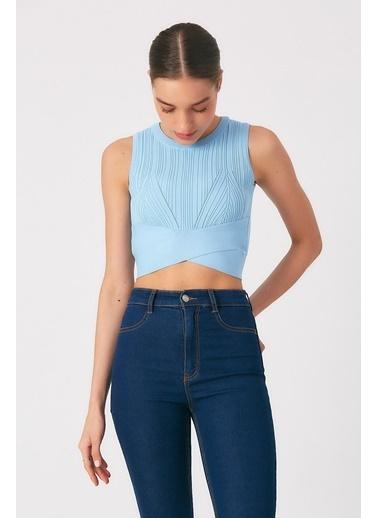 Robin Bel Detaylı Triko Body Mavi Mavi